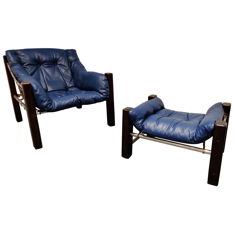 Jean Gillon Blue Leather Captain Chair with Ottoman, 1960s