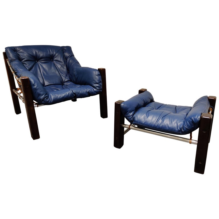 Jean Gillon Blue Leather Captain Chair with Ottoman, 1960s For Sale