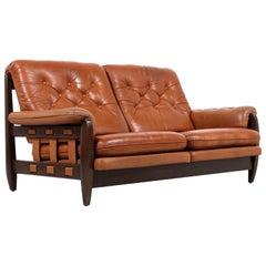 Jean Gillon Distress Cognac Leather Sofa for Italma Wood Art
