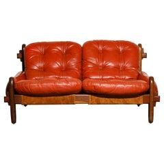 Jean Gillon for Probel Leather and Brazilian Jacaranda Settee, 1960s, Signed