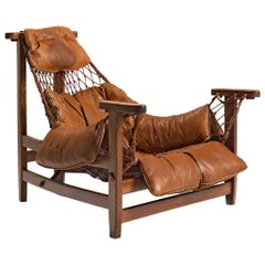 Jean Gillon Patinated 'Jangada' Lounge Chair in Cognac Leather