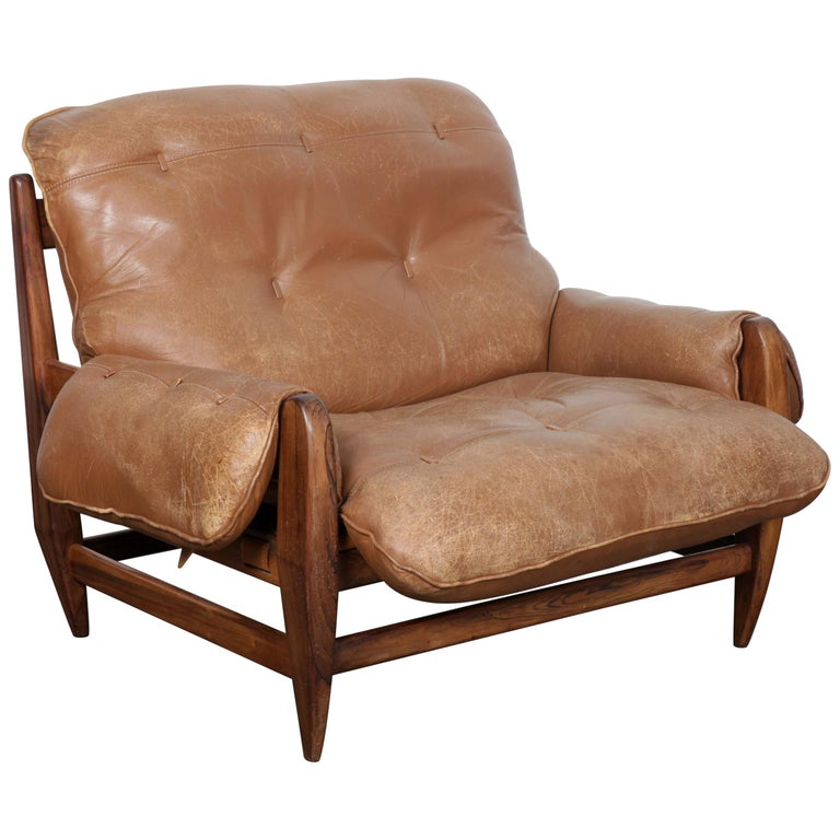 Jean Gillon Rosewood And Original Brown Leather Lounge Chair For Italma Wood Art For Sale At 1stdibs