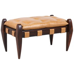 Jean Gillon Sculpted Rosewood and Leather Stool for Italma Wood Art