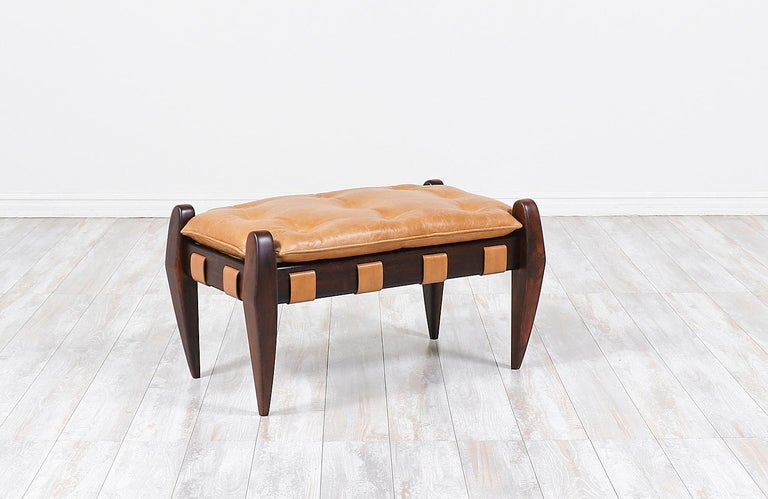 Jean Gillon sculpted rosewood and leather stool for Italma wood art.
