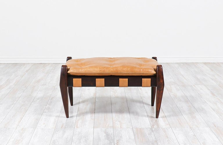 Mid-Century Modern Jean Gillon Sculpted Rosewood and Leather Stool for Italma Wood Art