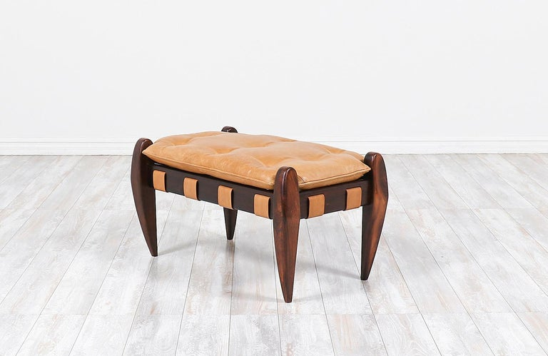 Brazilian Jean Gillon Sculpted Rosewood and Leather Stool for Italma Wood Art
