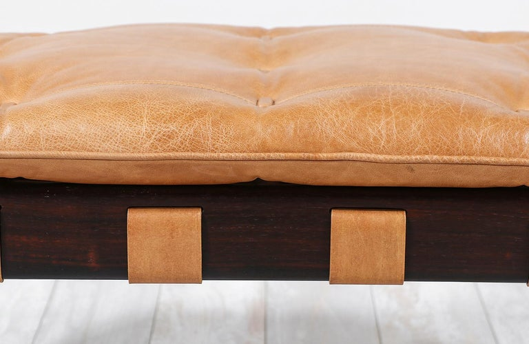 Jean Gillon Sculpted Rosewood and Leather Stool for Italma Wood Art 1