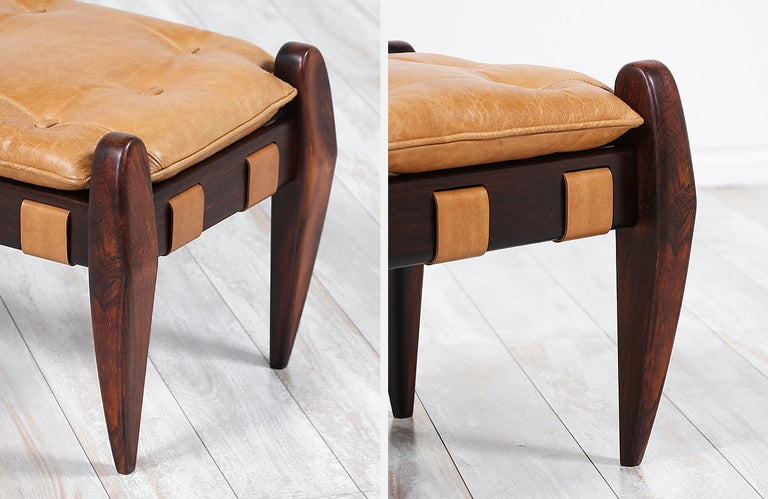 Jean Gillon Sculpted Rosewood and Leather Stool for Italma Wood Art 2