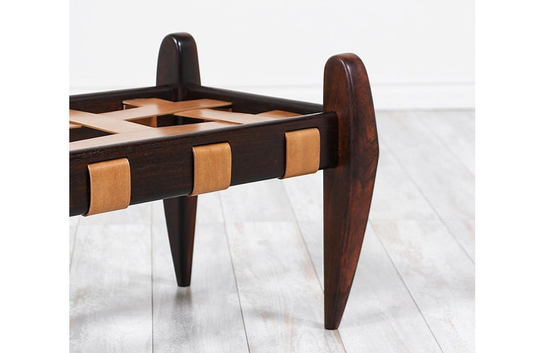 Jean Gillon Sculpted Rosewood and Leather Stool for Italma Wood Art 3