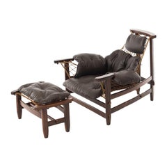 Jean Guillon Rosewood Lounge Chair and Ottoman