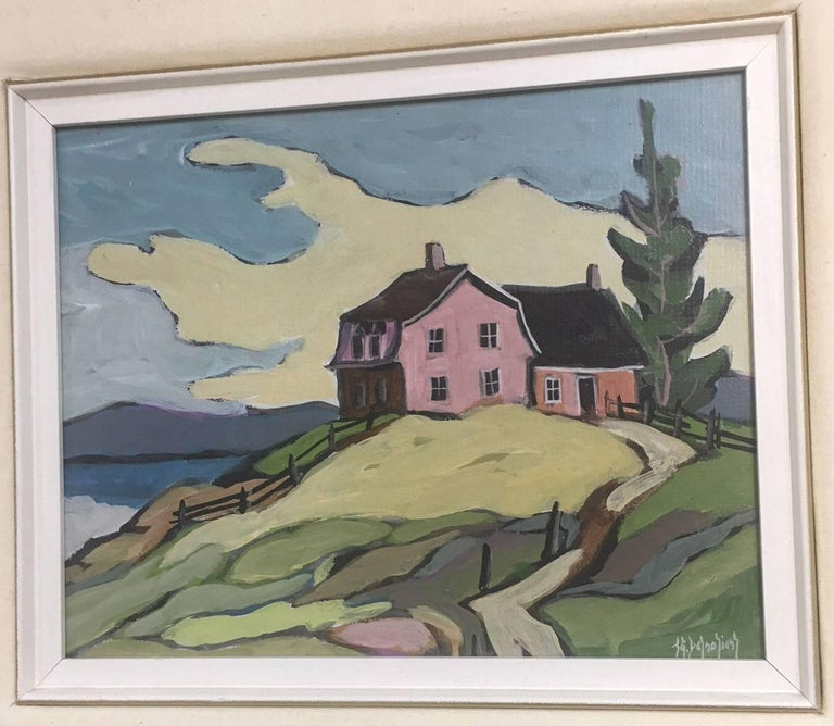 "Mid-Century Modern Jean Guy Desrosiers Oil on Board Painting ""Sur Ma Butte"" For Sale"