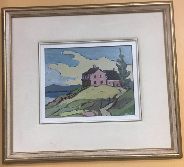 "Canadian Jean Guy Desrosiers Oil on Board Painting ""Sur Ma Butte"" For Sale"