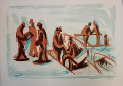 Fishermen and People at the Harbor - Original handsigned lithograph - 50 copies