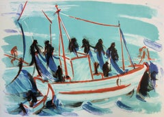 Fishermen working on a Boat - Original handsigned lithograph - 50 copies