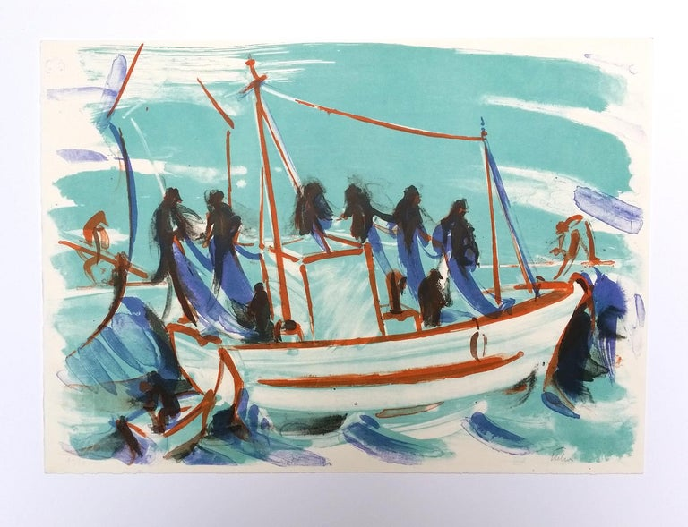 The departure of the ship - Print by Jean Helion