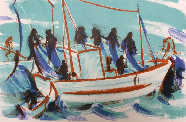 Jean Helion Figurative Print - The departure of the ship