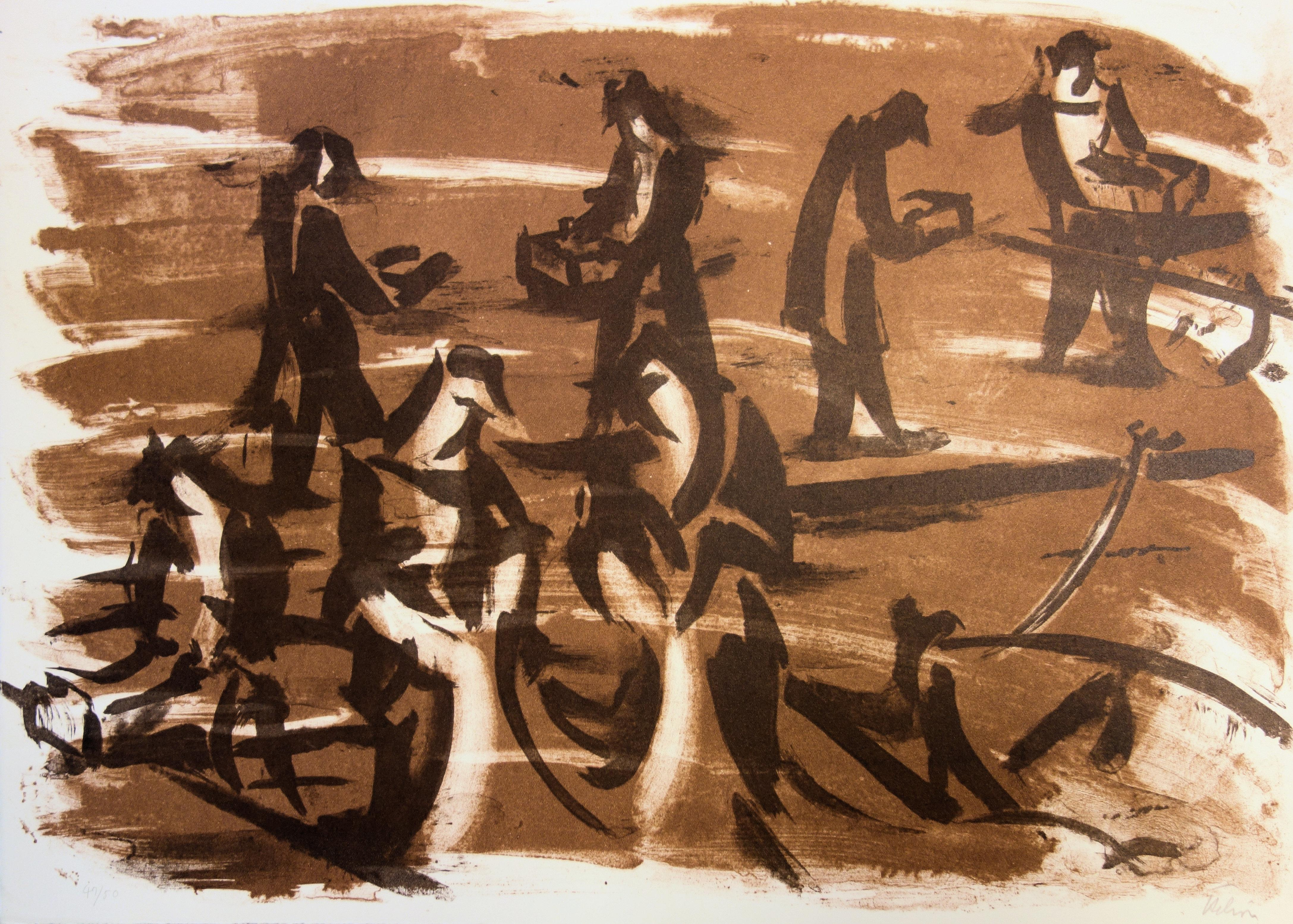 Workers at the Harbor - Original handsigned lithograph - 50 copies