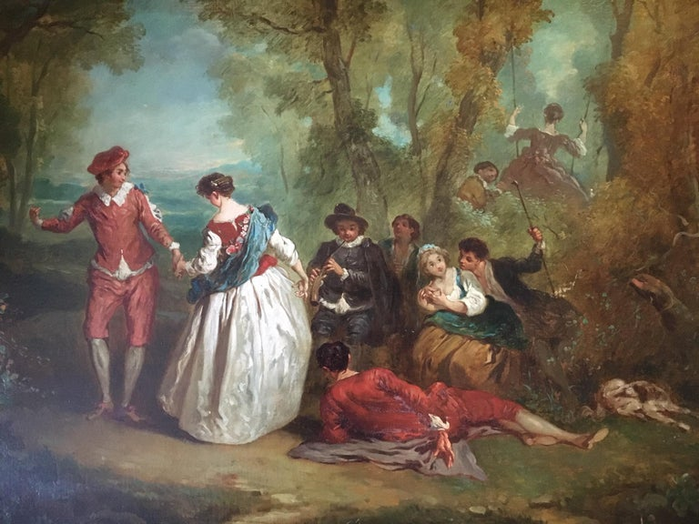 Jean Antoine Watteau (1684-1721) circle of. 18th century old master painting, France.   With great pride we offer an extremely rare masterpiece from the 18th century, France. This painting is unsigned as most of his works. It has no provenance,