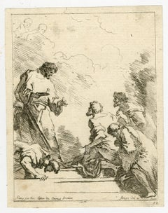 A religious scene by Jean Honore Fragonard - Etching - 18th Century