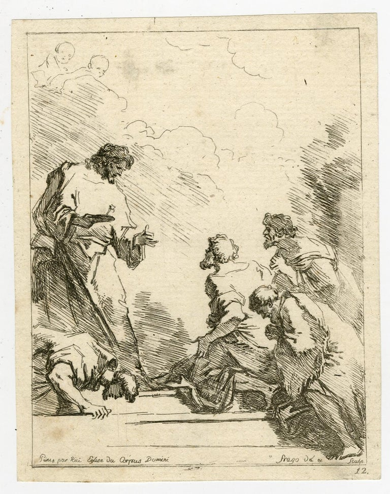 Jean-Honoré Fragonard Print - A religious scene by Jean Honore Fragonard - Etching - 18th Century