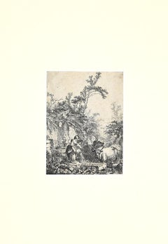 Grazing Herds with Figures - Original Print by Jean-Honoré Fragonard - 1772