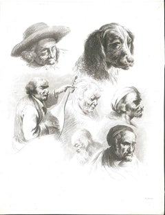 Study of Six Heads and a Dog - Original Etching by J.-J. Boissieu