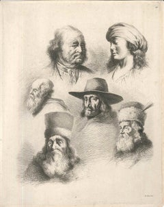 Study of Six Heads - Original Etching by J.-J. Boissieu