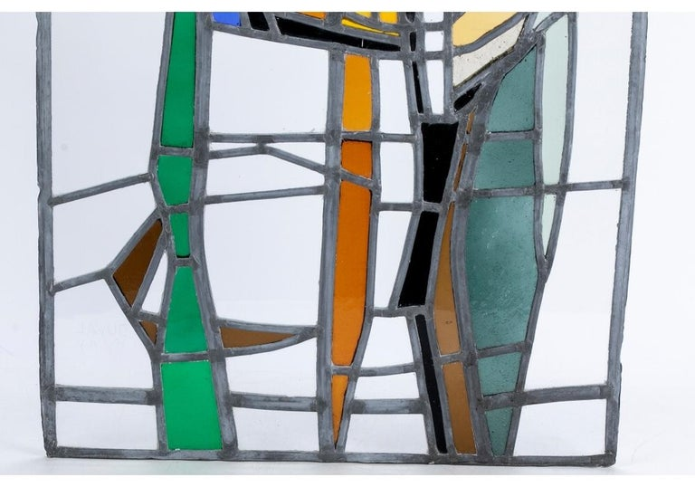 Mid-Century Modern Jean-Jacques Duval 'French/American' Vintage Abstract Stained Glass P For Sale