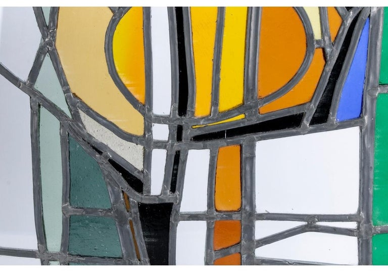Jean-Jacques Duval 'French/American' Vintage Abstract Stained Glass P In Good Condition For Sale In Bridgeport, CT