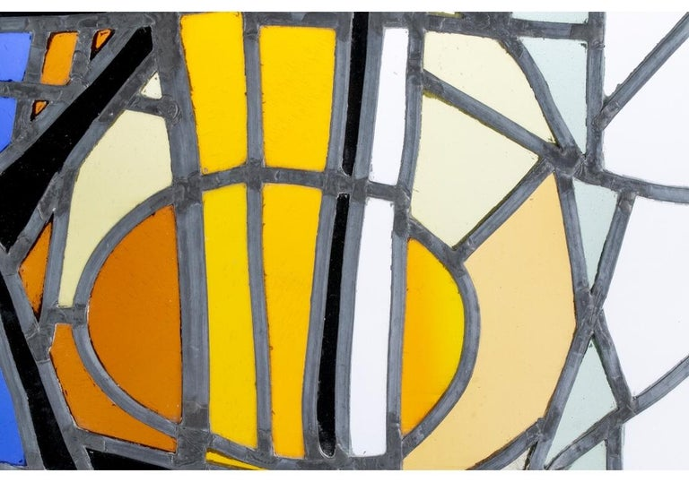 Mid-20th Century Jean-Jacques Duval 'French/American' Vintage Abstract Stained Glass P For Sale