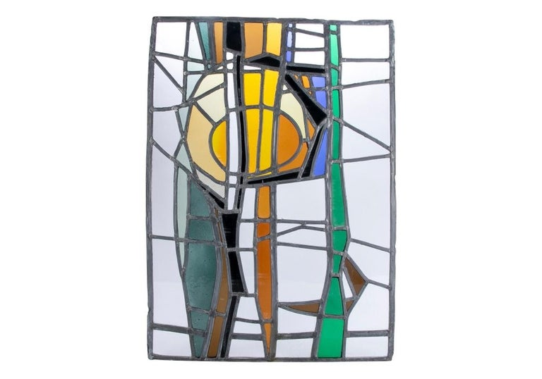 Jean-Jacques Duval 'French/American' Vintage Abstract Stained Glass P For Sale 3