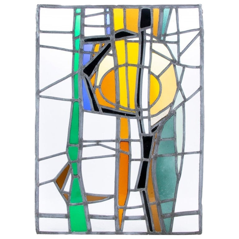 Jean-Jacques Duval 'French/American' Vintage Abstract Stained Glass P For Sale
