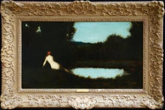 Apres Le Bain - 19th Century Oil, Nude Figure Resting by Water by J J Henner