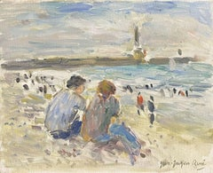 JEAN JACQUES RENE (FRENCH B.1943) SIGNED OIL - FIGURES SEATED LE HAVRE BEACH