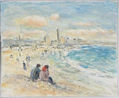 Le Havre : The Beach at Low Tide - Oil On Canvas Hansigned