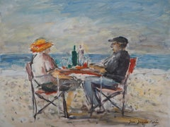 Lunch on the Beach - Oil On Canvas Hansigned