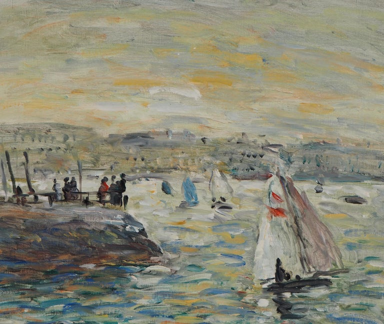 Sailings in Havre - Oil On Canvas Hansigned - Gray Landscape Painting by Jean Jacques Rene