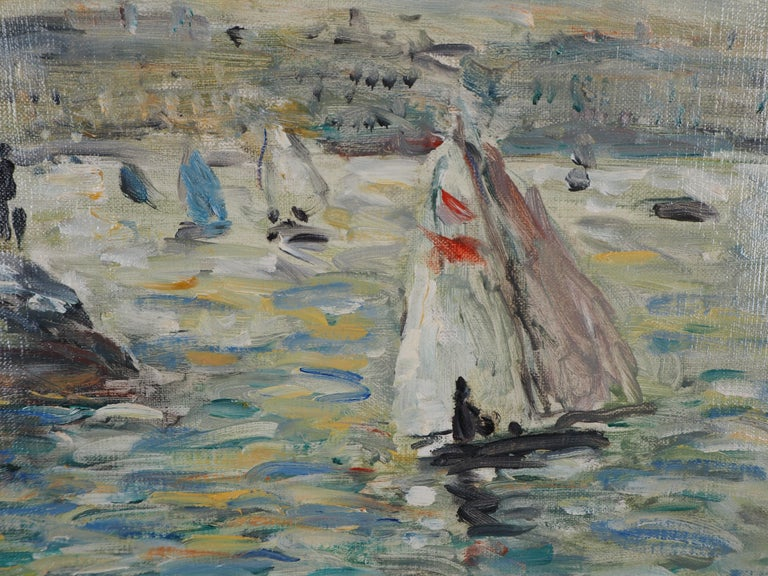 Jean-Jacques RENÉ Sailings in Havre  Oil paint on canvas Hansigned On canvas 38 x 46 cm (c. 15 x 25.6 inch) Presented with a black wooden frame 43.5 x 51.5 cm (c. 17.2 x 18.1 inch)  Excellent condition