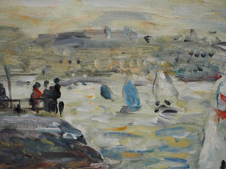 Sailings in Havre - Oil On Canvas Hansigned For Sale 4