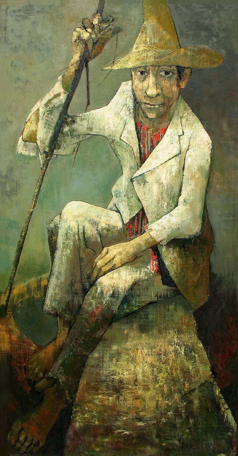 Le Chevrier, the shepherd - Abstract Impressionist Painting by Jean Jansem