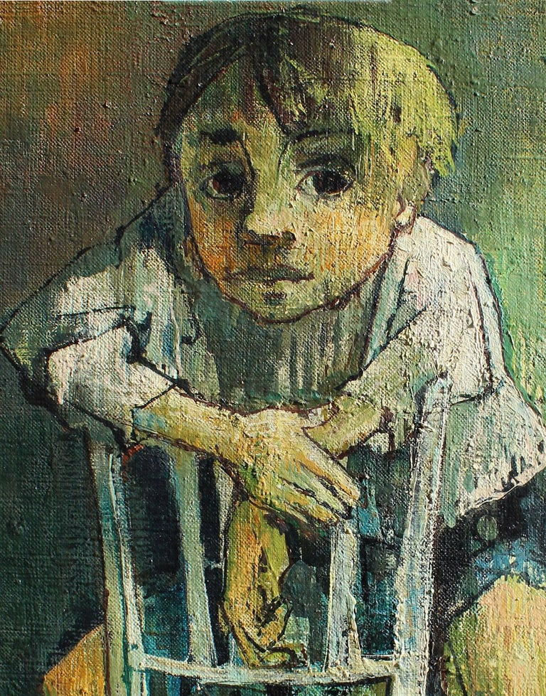 Portrait of a child with a soft toy, Jean Jansem - Gray Portrait Painting by Jean Jansem