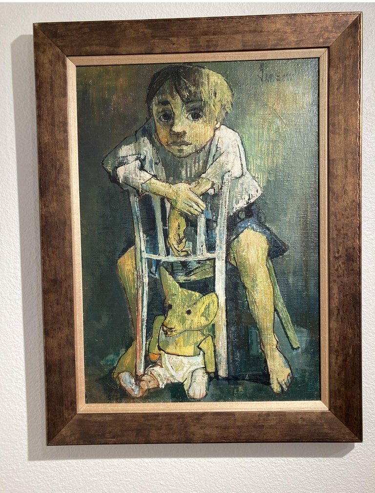 Portrait of a child with a soft toy, Jean Jansem For Sale 1