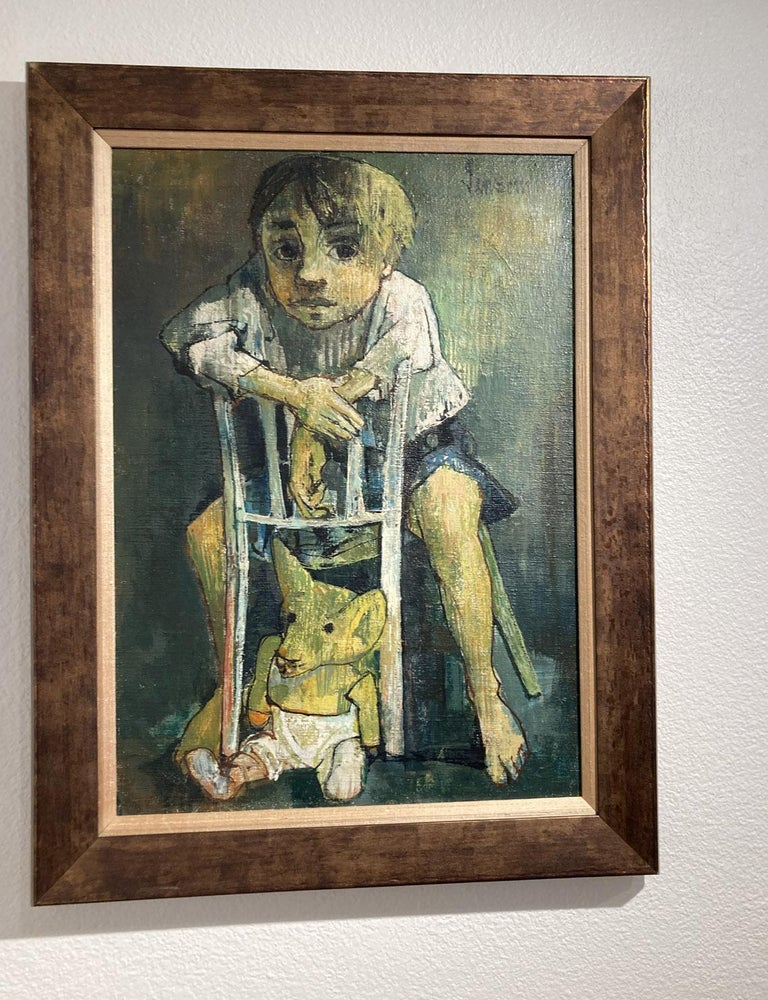 Portrait of a child with a soft toy, Jean Jansem For Sale 3