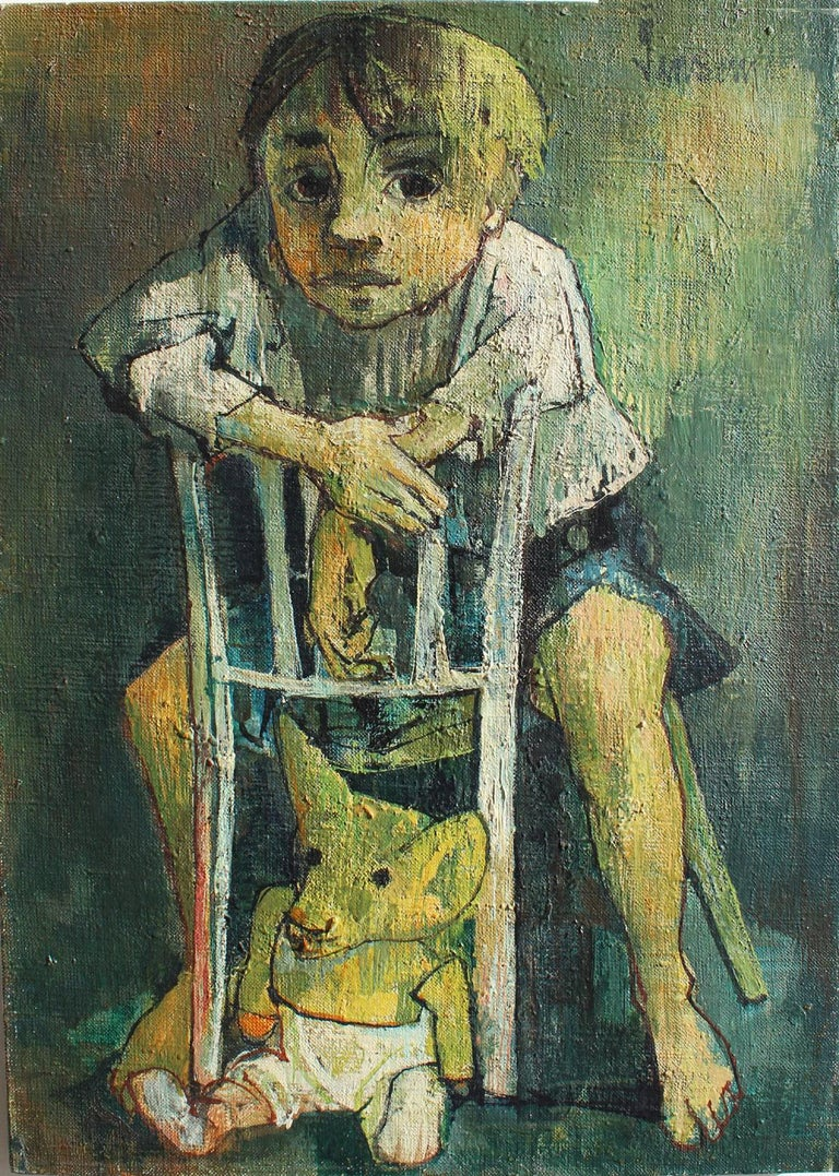 Portrait of a child with a soft toy, Jean Jansem - Painting by Jean Jansem