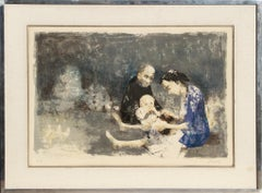 Couple with Baby, Lithograph by Jean Jansem