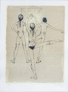 """La Danse,"" Print Academic Sketch of Ballerina signed by Jean Jansem"