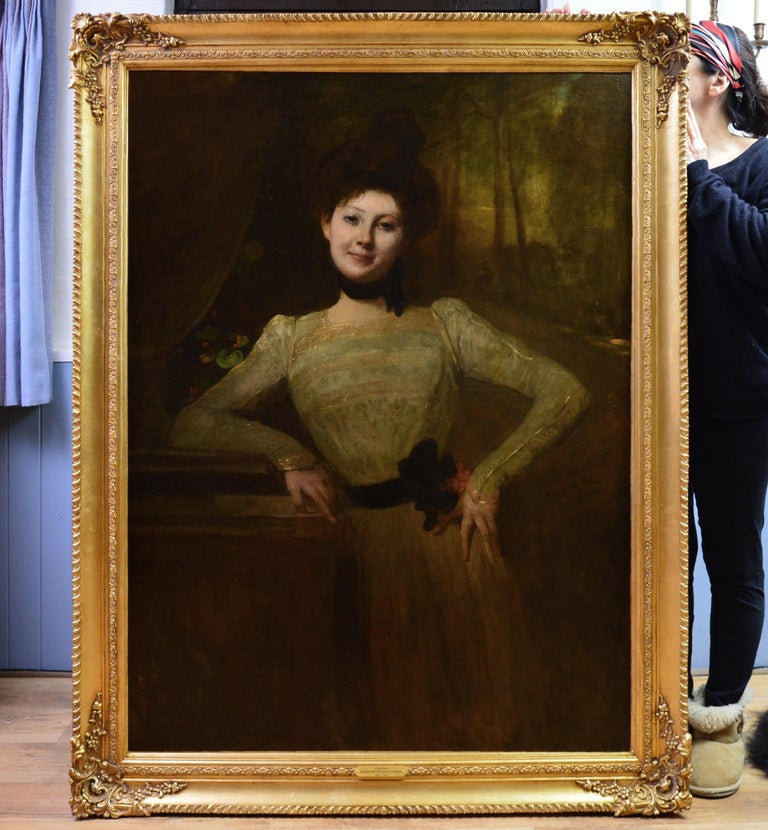Madeleine - Very Large 19th Century Oil Painting Portrait Victorian Society Girl - Brown Portrait Painting by Jean-Joseph Benjamin-Constant