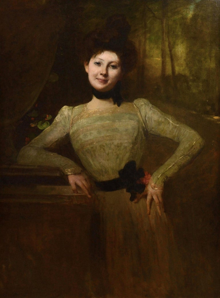 A very large fine French oil painting depicting a young society beauty at the turn of the 19th century by the eminent Paris Salon painter Jean-Joseph Benjamin-Constant (1845-1902). 'Madeleine' is signed by the artist, and also titled and dated 1901.