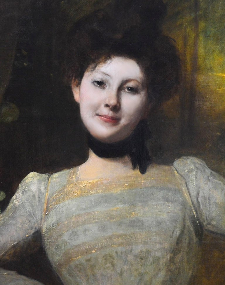 Madeleine - Very Large 19th Century Oil Painting Portrait Victorian Society Girl For Sale 3