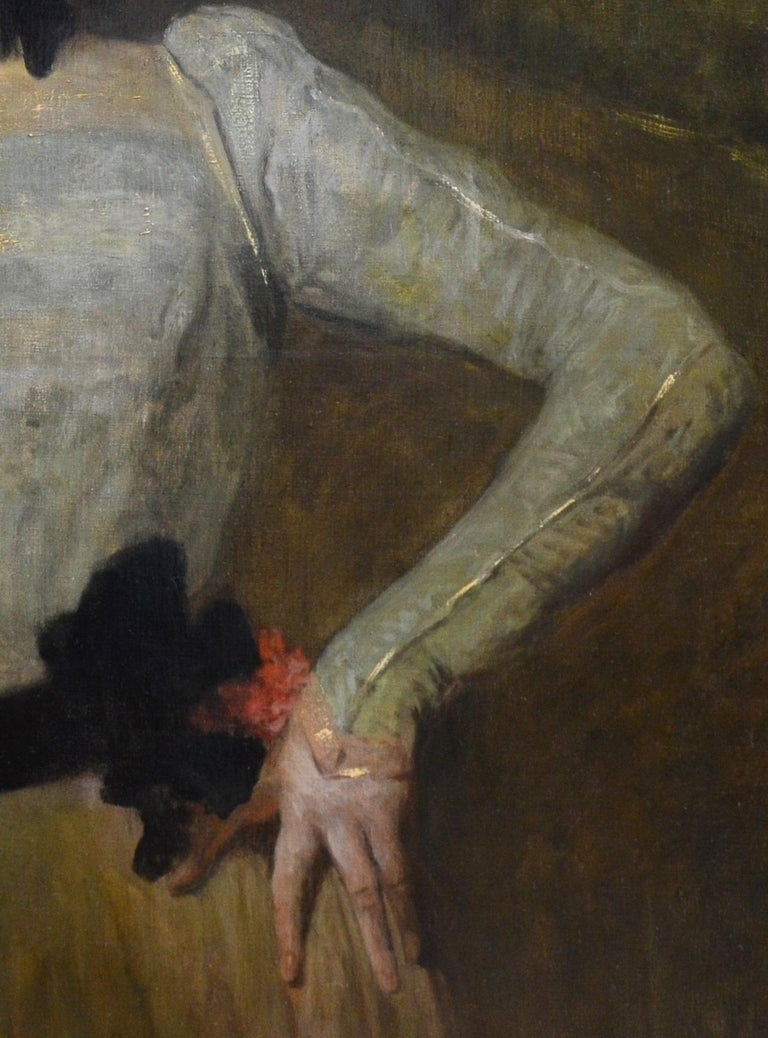 Madeleine - Very Large 19th Century Oil Painting Portrait Victorian Society Girl For Sale 6